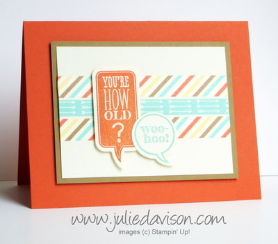 Stampin' Up! Just Sayin' + Retro Fresh Washi Tape card