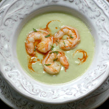 Cucumber Avocado Soup with Spicy Shrimp