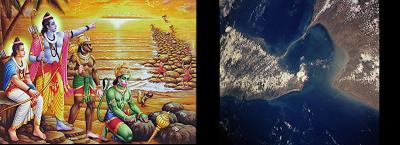 Hanuman--construyendo-el-puente-hacia-Sri-Lanka-Fotografia-aerea-que-muestra-el-puente-sumergido-entre-la-India-y-Sri Lanka