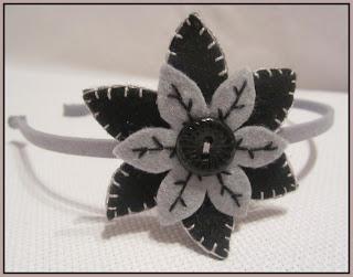 Diadema Flor Fieltro - Gris-Negro - ChikiPol