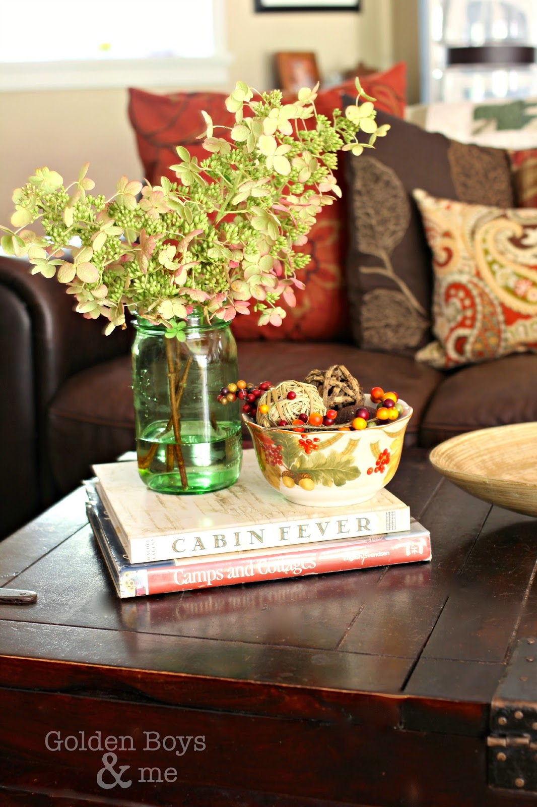 Dried hydrangea in fall family room-www.goldenboysandme.com