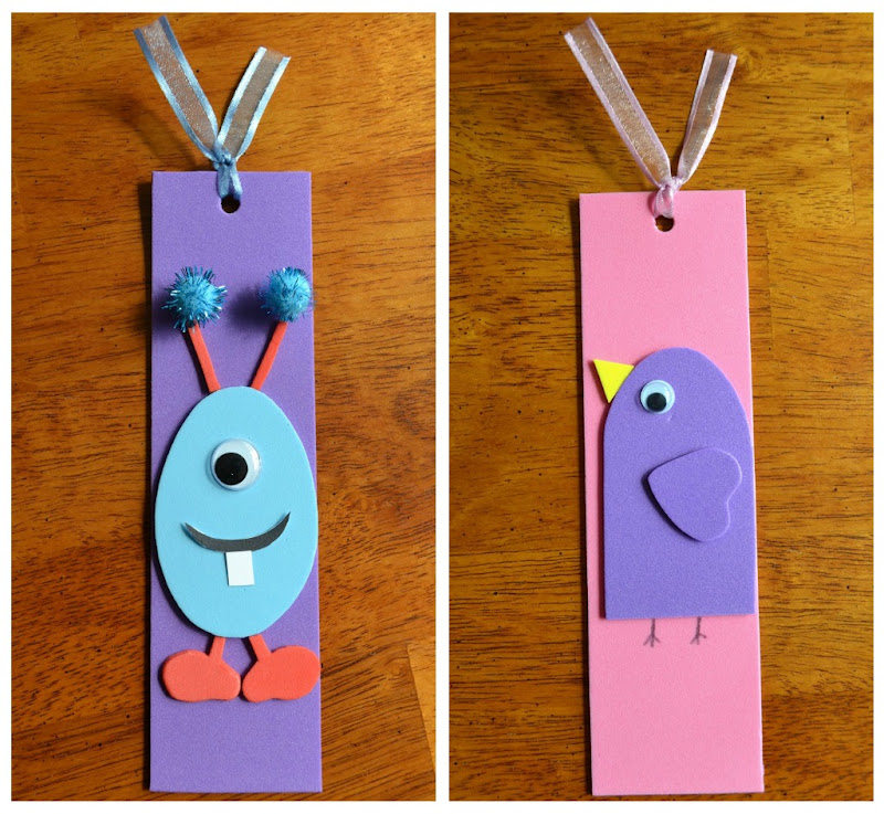 East coast mommy ecm kid 39 s craft club 2 foam bookmarks for Bookmark craft for kids