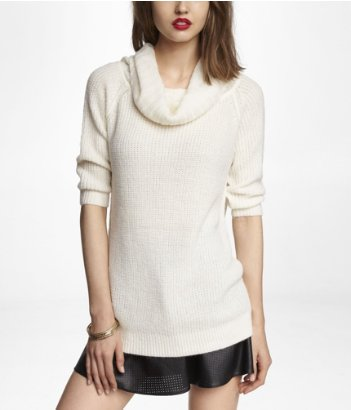 express cowl neck shaker knit tunic sweater