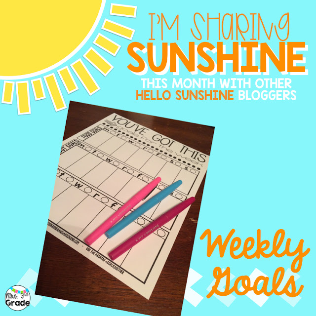 Sharing sunshine with weekly goals with a fun printable made by Ashley!