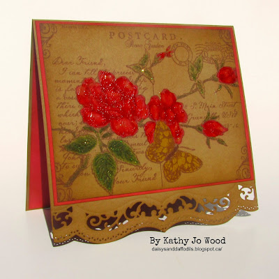 quietfire, justrite, spellbinders, A2 Bracket, rose postcard, friend, card, tim holtz, watercolor