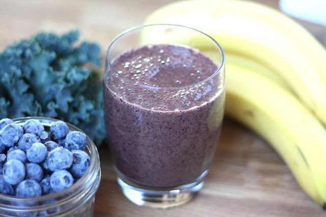 Blueberry Banana Kale Smoothie recipe by Barefeet In The Kitchen