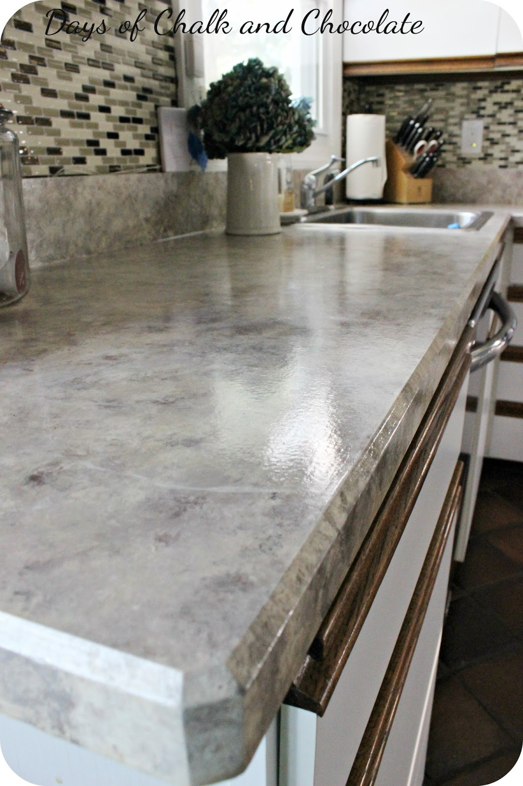 Paint Kitchen Countertops To Look Like Granite Painted Faux Stone Countertops Days Of Chalk And Chocolate