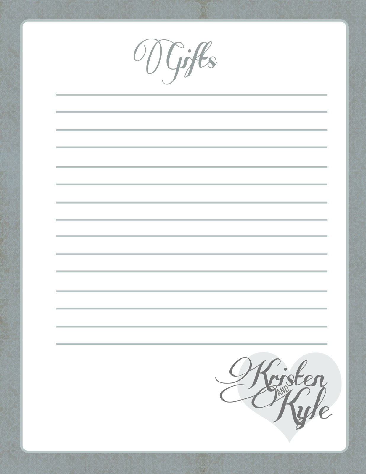 Bridal shower gift list template 28 images guest book for Wedding shower gift list template