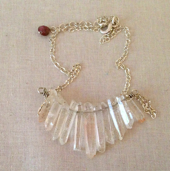 Crystal and sterling silver necklace: Lisa Yang Jewelry
