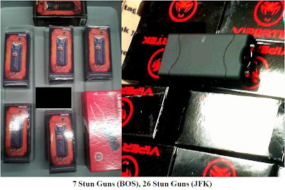 Pictures of stun guns. 7 from Boston and 26 from New York's JFK.