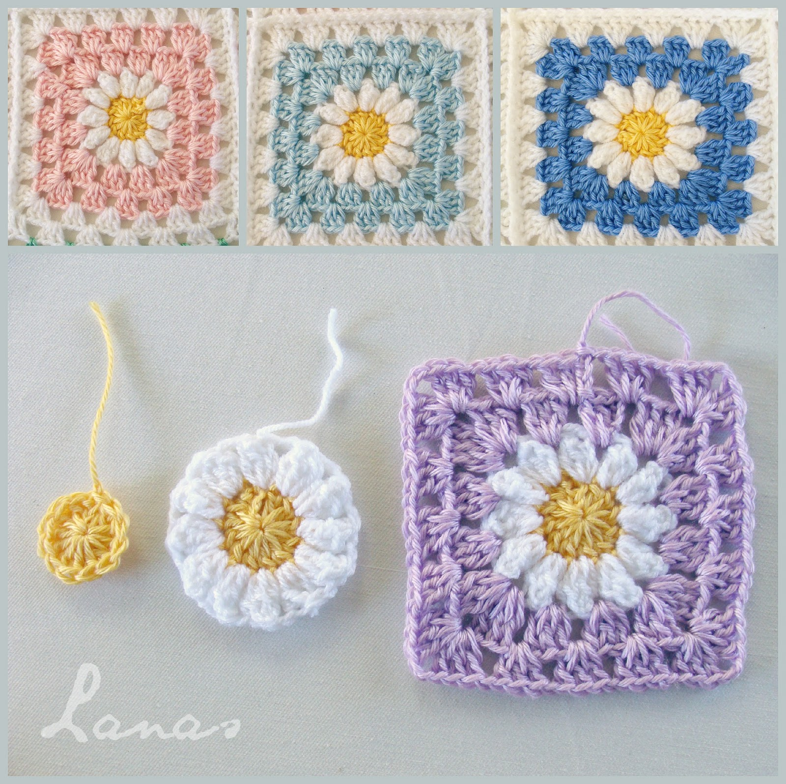Lanas de ana daisy blanket all daisies have white petals and a yellow center the flower then is turned into a granny square izmirmasajfo