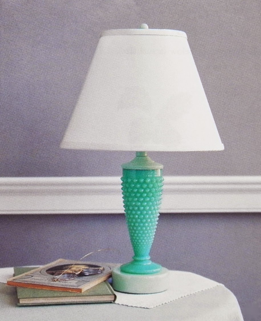 Good things by david marthas green glass a hobnail vase was turned into a bedside table lamp for the catalog the shape of an antique pressed glass vase appealed to us so much we wired it to make reviewsmspy