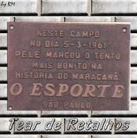 A placa do Joelmir - homenagem ao gol de placa de Pelé no Maracanã no jogo contra o fluminense em 5/3/1961