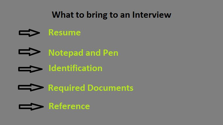 be careful brings all the required documents for job interview interview may ask you for any document so dont ignore brings some of the required things - What To Bring To A Job Interview