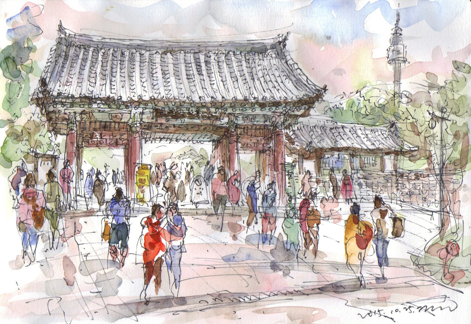 Several sketches at namsangol hanok village seoul urban sketchers