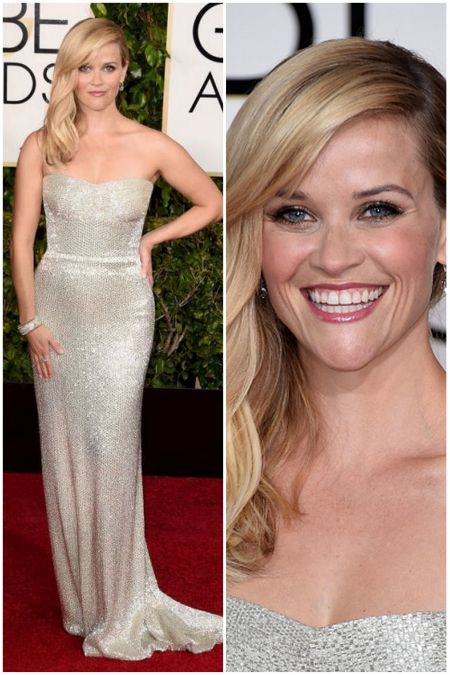 Reese Witherspoon's look, in Calvin Klein at the Golden Globes 2015