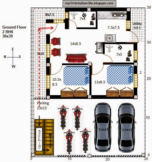 My little indian villa 29 r22 2bhk in 30x39 west facing for Car dimensions in feet india