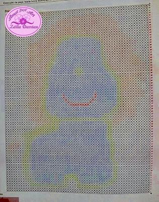 Tapete de crochê infantil em formato de leão com gráfico