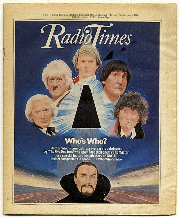 Radio Times Nov 1983 ft. the five doctors and the Master.