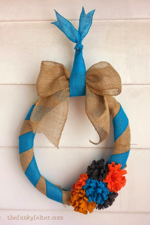 handmade burlap and felt flower fall wreath decor
