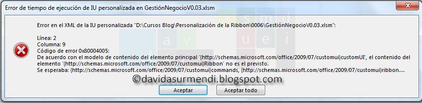 Error por utilizar ribbon con mayúsculas detectado en Excel