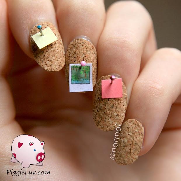 piggieluv cork board 3d nail art