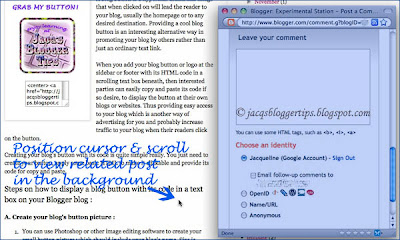 Screen shot of Blogger's pop-up window for comments, highlighted in blue, showing the comment form