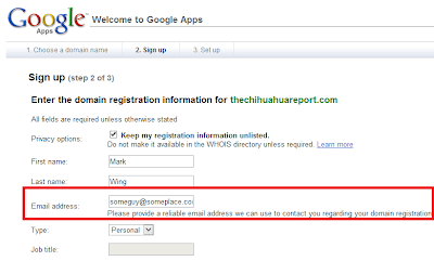 Google Apps Domain Registration - domain contact email
