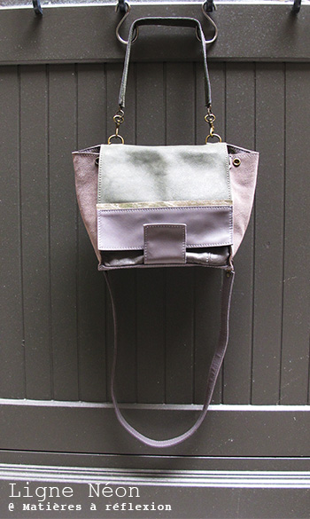 Sac cuir kaki/gris/métallisé Mini-Neon Matières à réflexion