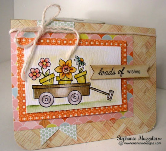 Loads of Wishes Wagon card by Stephanie Muzzulin | Wagon of Wishes Stamp set by Newton's Nook Designs