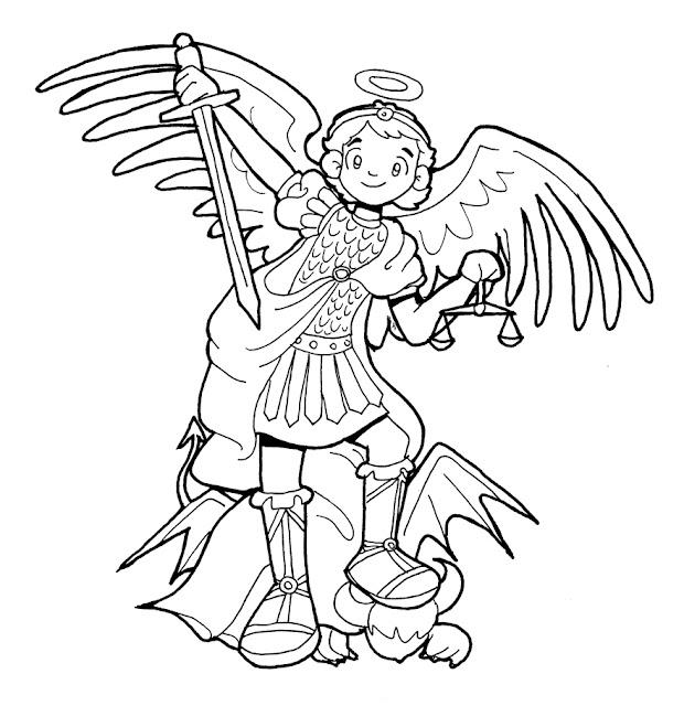 San Miguel Arcangel Para Colorear