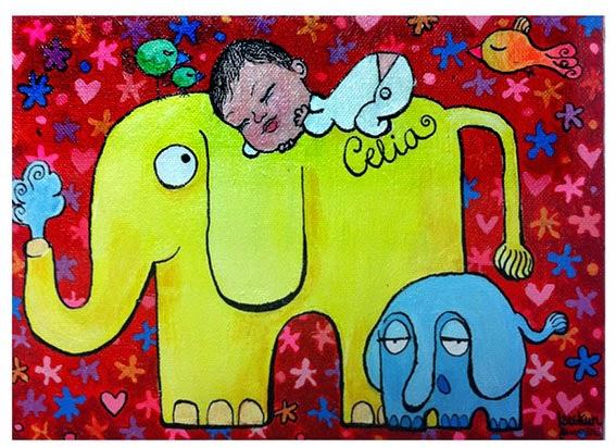 Celia y elefantes