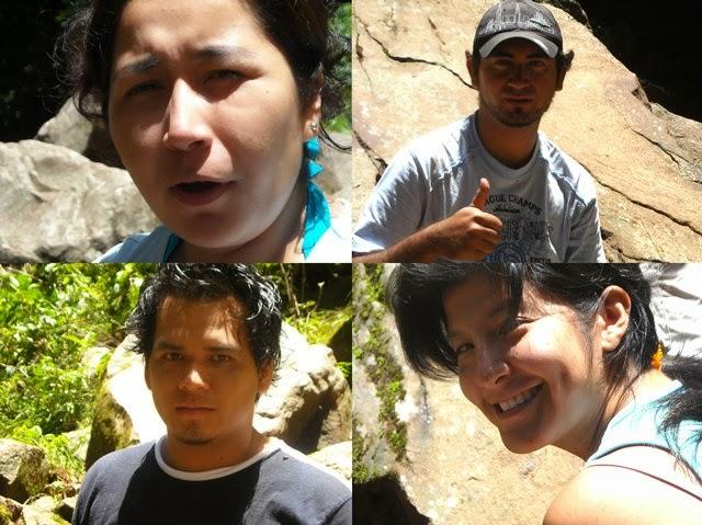 Maju y Abel (arriba), Juanito y Paquita (debajo), a orillas de la cascada de Tamushal (Shilcayo)