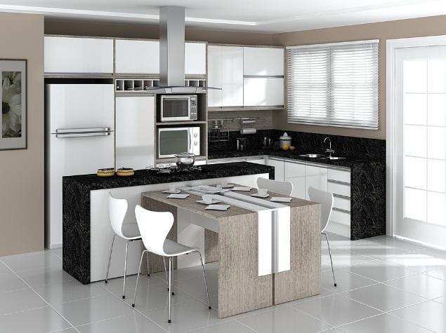 Cozinhas planejadas Lindas mesas de cozinha