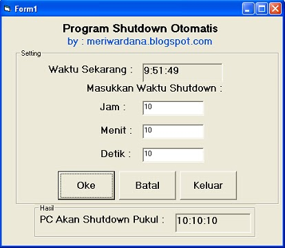 Gambar program shutdown otomatis dengan Visual basic