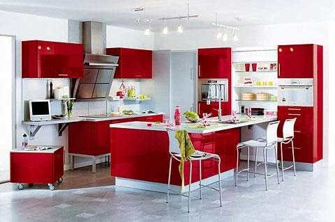 Cocinas color rojo y blanco colores en casa - Photos de belles cuisines modernes ...