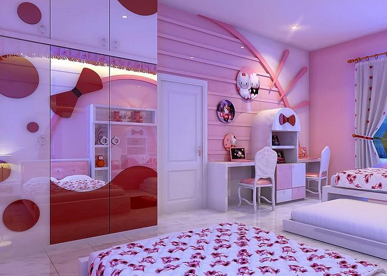 Contoh Model Desain Kamar Tidur Hello Kitty Menarik dan Lucu