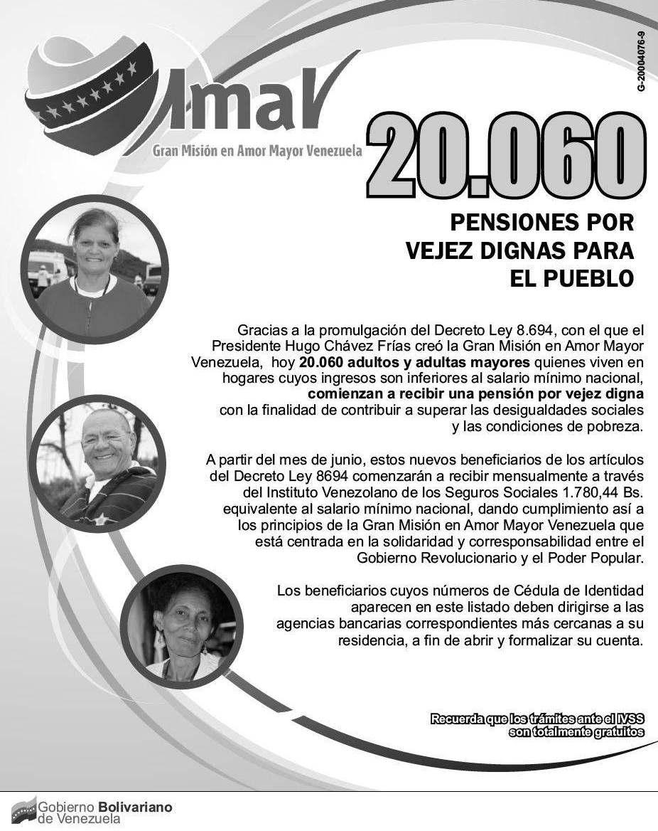 Lista de Nuevos Pensionados IVSS en Amor Mayor 22 de Julio de 2012
