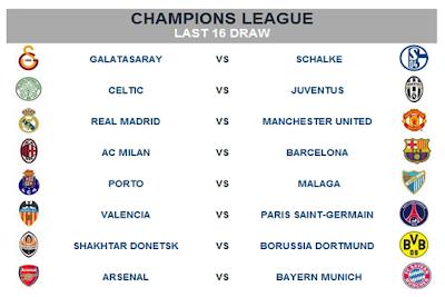 Jadual Perlawanan UEFA Champion League 2012/2013 Pusingan Kedua ( Round 16 )