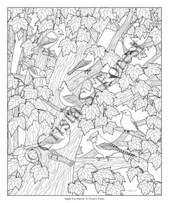 Forest Wildlife Art Autumn Birds Adult Coloring Page