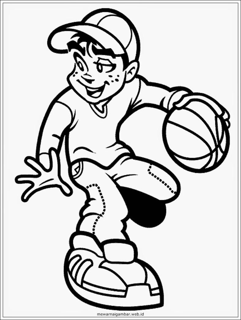 gambar mewarnai anak bermain basket
