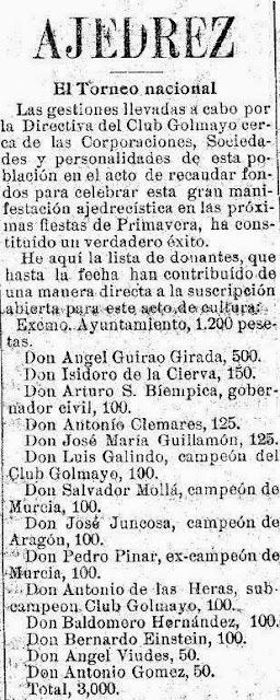 Noticia sobre el I Torneo Nacional de Ajedrez de Murcia 1927, El Liberal, 1 de enero de 1927 (1)