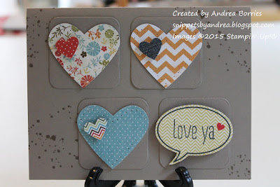 "Love card made with hearts punched from scraps of patterned paper and a die-cut ""Love ya"" word bubble."
