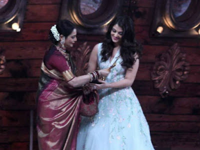Aishwarya Rai created a flutter at the recent Sansui Stardust Awards 2016.function when she addressed veteran actress Rekha as 'maa' on stage.  Rekha was also on stage to give away the Best Actress award to Aishwarya, who had won it for Jazbaa.  After she uttered the 'maa' word all eyes, including cameras, turned to get Amitabh Bachchan's reaction. They were not disappointed as the normally affable senior actor had turned grim.