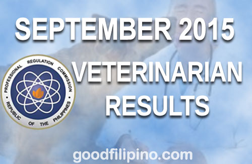 PRC Results: Veterinarian Board Exam Results - List of Passers (September 2015)