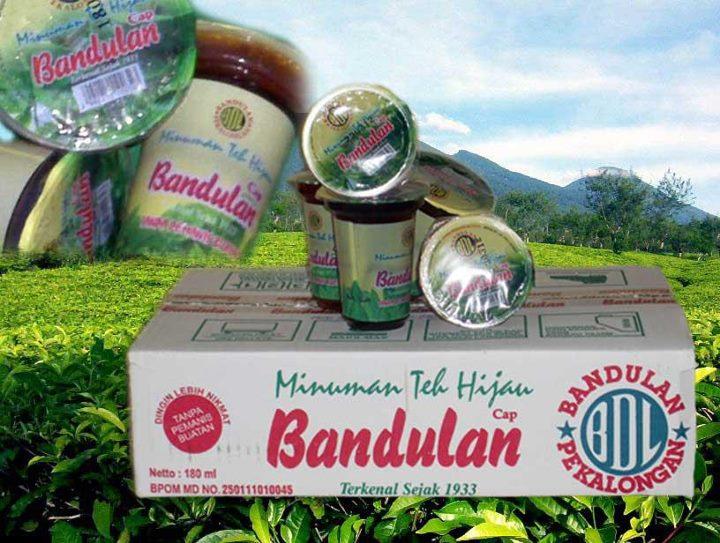 Teh hijau dalam kemasan gelas Cap Bandulan, asli, wangi, dan murni