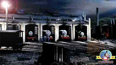 That night big express Gordon the tank engine slunk silently into the round wooden Tidmouth shed