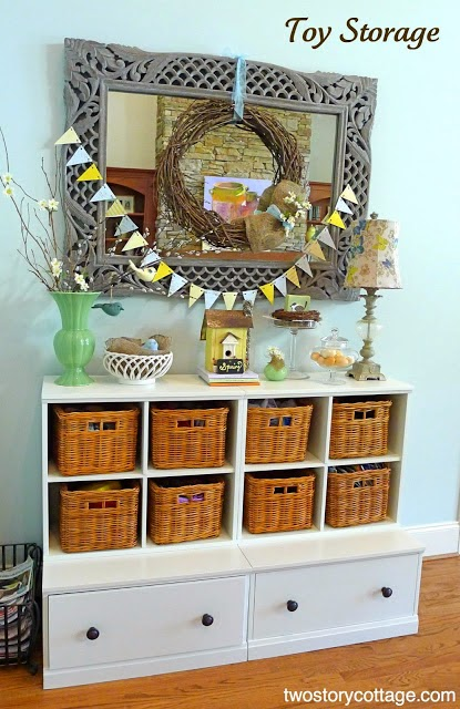 Use baskets for toy storage :: OrganizingMadeFun.com