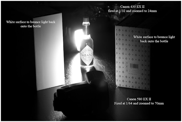 A photograph of the lighting setup used to light the Tabasco Sauce bottle