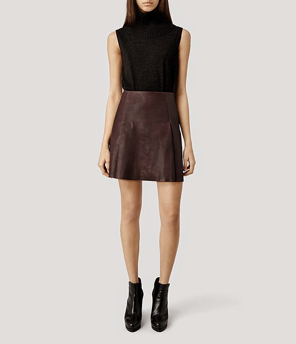 Leather Mini Skirt Pleated